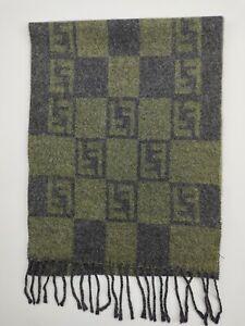 FENDI genuine vintage Green / Grey winter wool scarf Scarves