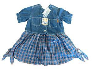 New Oilily Vintage Kids Girls Denim Dress - Plaid Bottom 104 US 4-5