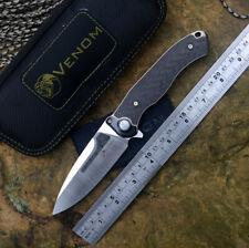 New Kevin John Venom M390 Bone Doctor Titanium Cf handle Flipper Folding Knives