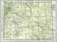 1942 Vintage WYOMING MAP Antique Map of Wyoming State Map Gallery Wall Art 7782