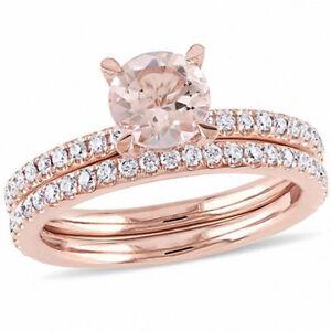 14K ROSE GOLD ROUND MORGANITE AND DIAMOND ENGAGEMENT RING BAND BRIDAL SET 1.90CT