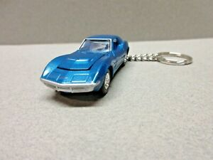 BLUE 1968 CHEVY CORVETTE L88 CUSTOM DIE CAST  KEY CHAIN 1/64 SCALE