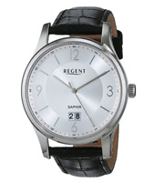 Regent Men's Silver Stainless Steel Watch with Black Leather Strap - 11110792