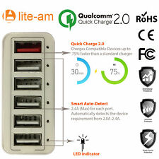 Lite-am® 60W 6 Port USB Multi function Power Adapter With QC 2.0 Fast Charger