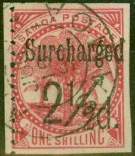 More details for samoa 1898 2 1/2d on 1s dull rose-carmine sg86var imperf 3 sides fine used