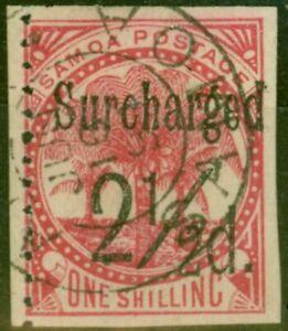 Samoa 1898 2 1/2d on 1s Dull Rose-Carmine SG86var Imperf 3 Sides Fine Used