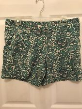 Ann Taylor Loft Teal White Red Paisley Short Size 6