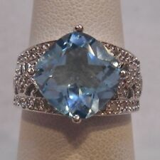 Estate~4 4/5 ct Sky Blue Topaz & 1/4 ct Diamond 925 Sterling Silver Ring Size 7