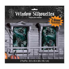 Halloween Party Creepy Ghosts Haunted House Window Silhouettes Scene Decoration
