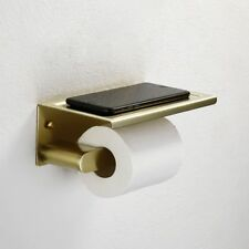 SUS304 Brushed Gold Paper Holder Wall Mounted Square Toilet Roll Tissue Shelf