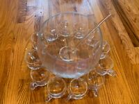 Big Large Glass Punch Bowl With Matching Cups and Ladle