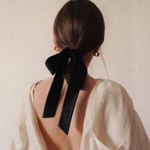Handmade Velvet Long Hairband Elastic Hair Rope Ponytail Holder Bow Ribbon