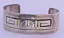 Bracelet Stamped Sterling Silver Native American Navajo Hopi Style Fine Cuff