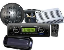 "200W New Marine Boat USB MP3 AM FM WB Stereo /Cover 2 4"" Speakers + 200 Watt Amp"
