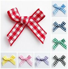 3cm Mini Gingham Bows Pre-Tied Check Ribbon Embellishment Wedding Gifts Crafts