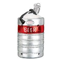 """Aluminum Beer Keg"" (32316)X Old World Christmas Glass Ornament w/OWC Box"