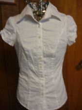 Womens Small Studio Y White on White Striped SS Shirt Blouse