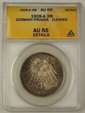 1908 Germany-Prussia Three Mark Silver Coin 3m AU-55 Details Cleaned