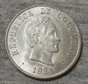 1934 COLOMBIA 50 CENTAVOS SILVER COIN AU-UNC
