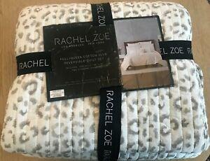 Rachel Zoe full queen cotton slub reversible quilt set New!