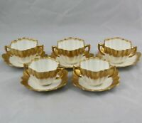 5 Antique English Porcelain Gold Bouillon Cups & Saucers English Registry Number
