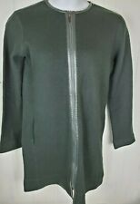 Worth Cardigan Size S Green Wool Long Sleeve Zipper front duster Sweater