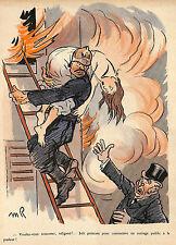 SAUVETAGE DU FEU PAR POMPIER IMAGE MAURICE RADIGUET ILLUSTRATEUR 1908