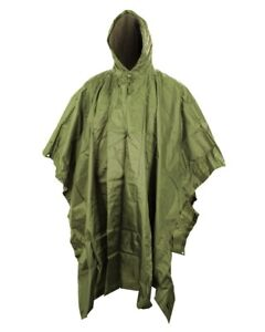 BRITISH ARMY STYLE NYLON WATERPROOF PONCHO in OLIVE GREEN