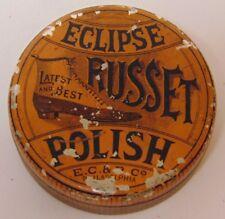 Antique Vtg 1910s ECLIPSE RUSSET SHOE POLISH ADVERTISING TIN PHILADELPHIA PA USA