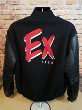 Vintage Special Export Beer Black Leather Letterman Varsity Jacket Mens Size XL