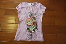 Ed Hardy Womens Platinum True Love Tee Shirt NEW Size SMALL Lilac