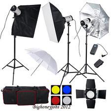 900W Flash Strobe Kit Photo Studio Softbox Portrait Set 16Channel Trigger 3x300W