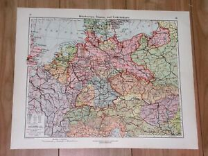 1928 MAP OF GERMANY SILESIA POMERANIA EAST PRUSSIA POLAND CENTRAL EUROPE
