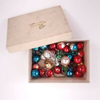 """25+ Small Round 1/2"""" Multi Colored Glass Christmas Ornaments Vintage"""