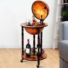 Mappamondo Mobile angolo bar con ruote porta liquori  88x45x45cm Marrone vintage