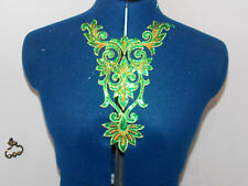 green sequin HOTFIX embroidered lace YOKE chest applique motif costume asian