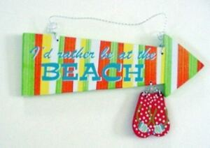 """Flip Flops """"I'd Rather Be at the Beach"""" Wood Sign - 11303"""