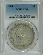 1861 Liberty Seated Dollar $1 XF 40 PCGS
