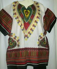 Mens Womens Unisex Top Shirt Dashiki White Red Cotton Free Size Fits Size 2X 3X