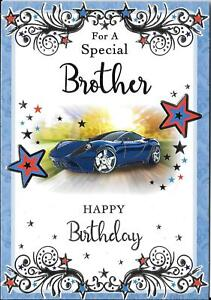 BIRTHDAY CARD FOR A SPECIAL BROTHER - BLUE SPORTS CAR