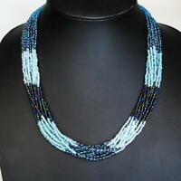 "LUSCIOUS 12 STRAND 24"" TURQUOISE PEACOCK AQUA BLUE GLASS SEED BEADS necklace"