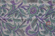 Block  Hand Print Fabric Sanganeri Running 5 Yard Indian Pure 100% Cotton Green