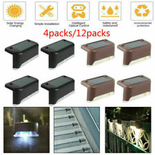 24PCS Outdoor LED Solar Powered Fence Wall Lights Step Path Decking Garden Lamp