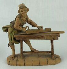 "Fontanini Depose Italy Figurine 4"" Vintage Village Carpenter Working Bench #205"