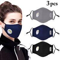 3 Masque de protection tissu coton lavable avec 6 filtres PM 2.5 + valve