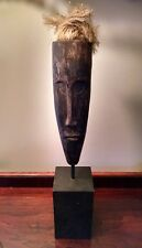 BLACK AFRICAN ART TRIBAL FACE MASK ANDROGYNOUS CARVED WOOD STRAW HAIR HOME DECOR