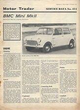 MINI MK II BMC MOTORE operatore servizio dati + CARROZZERIA dati no. 474 & 474A 1968