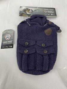 "Canada Pooch Dogs Purple Cargo Cardigan Knit Sweater Size 10"" NEW"