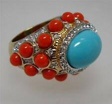 KENNETH JAY LANE TURQUOISE CORAL CABOCHON  & CRYSTAL DOME RING Size 5.5