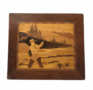 Vintage Wood Marquetry Inlay Picture Board Fly Fisherman Fishing Handmade Art